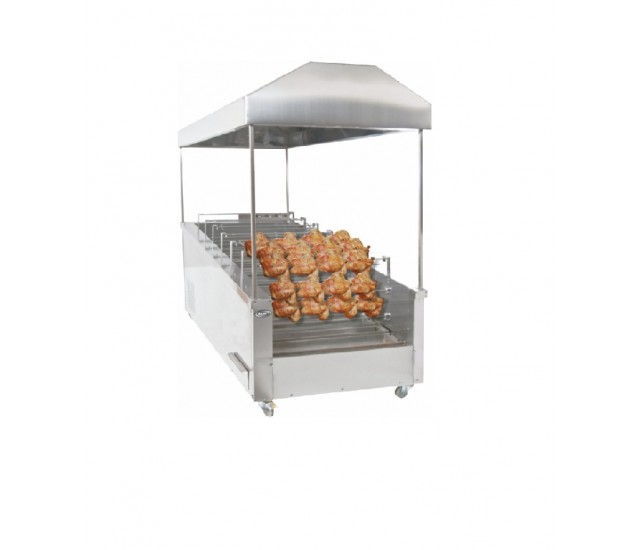 Automatic Chicken Rotisserie 40 Chicken Capacity Works With Charcoal